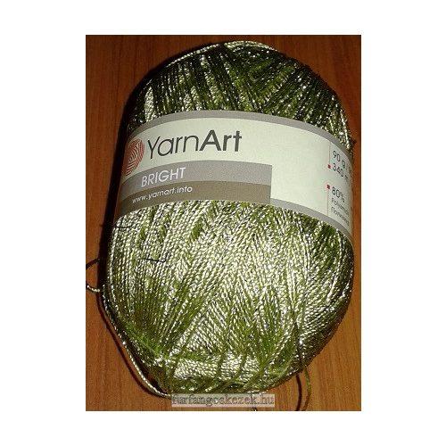 YarnArt Bright horgoló fonal - halványzöld ezüst fémszállal